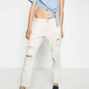 ZARA Don't Look Back Boyfriend Distressed Jeans